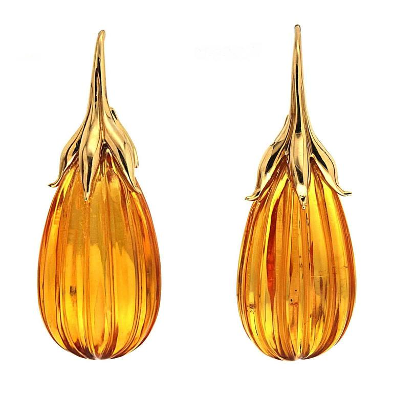 Valentin Magro Amber drop Earrings with gold French Hook