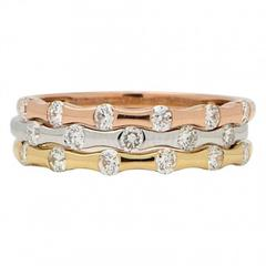 Stackable Diamond Three-Tone Gold Ring