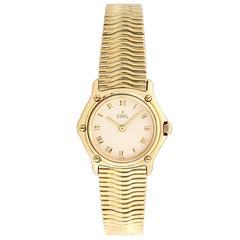 Ebel 1911 Yellow Gold Classic Wave Sportwave Bracelet Quartz Wristwatch