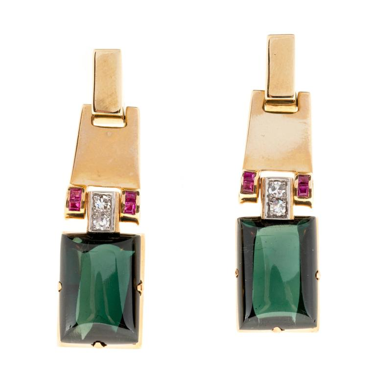 Cabochon Green Tourmaline Ruby Diamond Gold Earrings For Sale