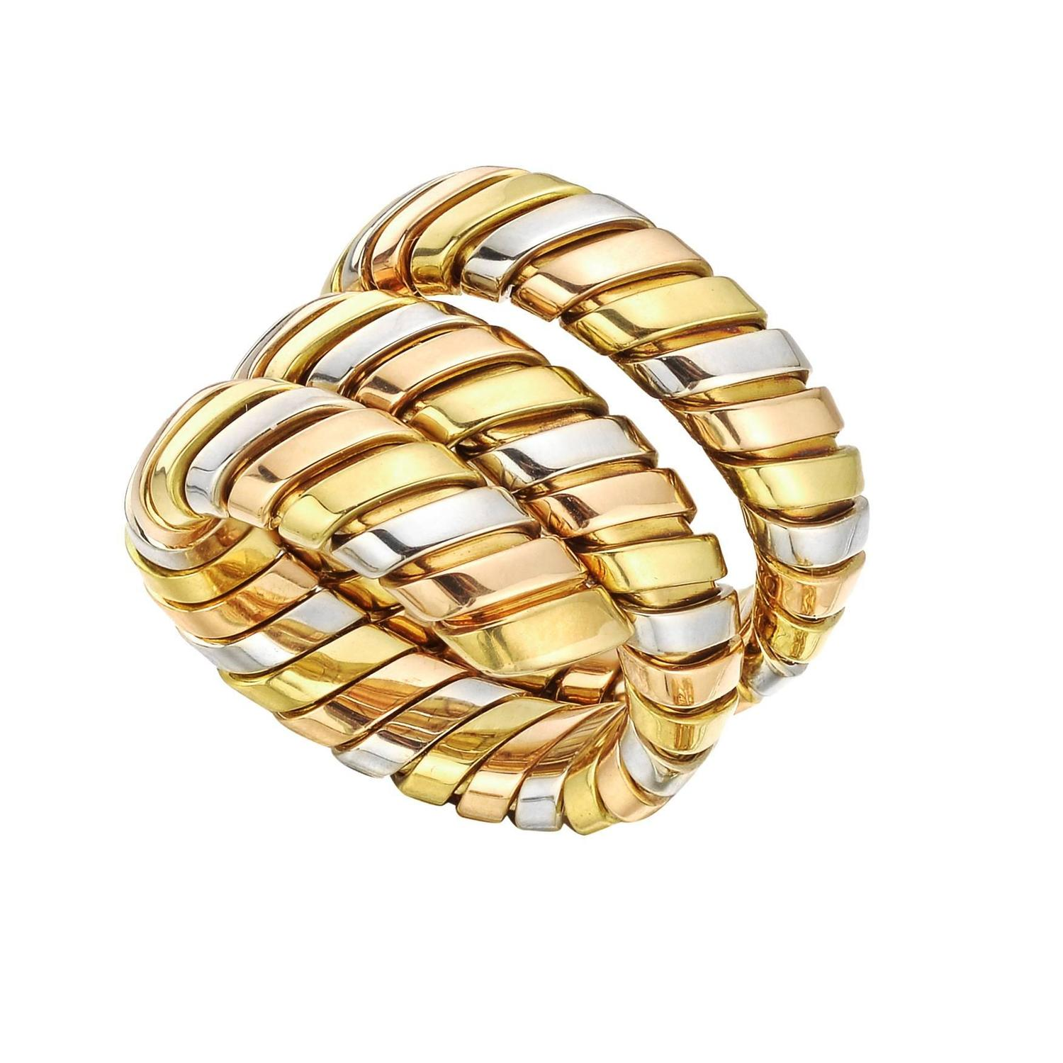 bulgari tricolor gold tubogas ring at 1stdibs