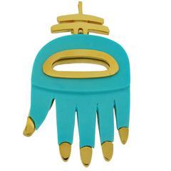 1970s Aldo Cipullo Re-manufactured Turquoise gold Hamsa Hand Pendant
