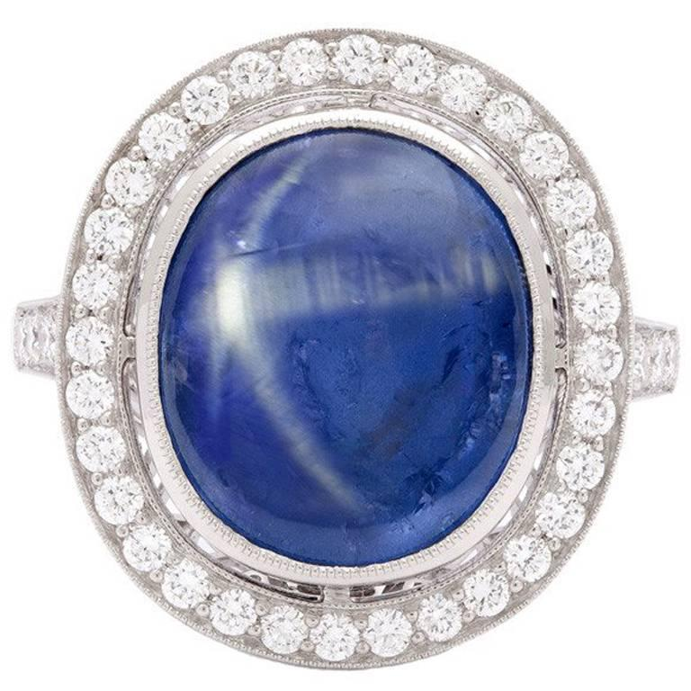Natural 8.55 Carat Blue Star Sapphire Diamond Platinum Ring