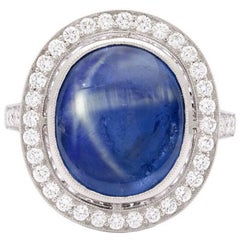 Natural 8.55 Carat Blue Star Sapphire Diamond Platinum Ring