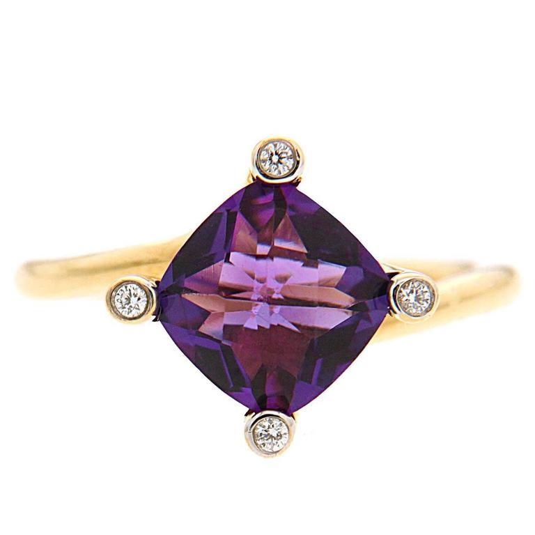 Valentin Magro Cushion Amethyst Diamond Gold Solitaire Ring