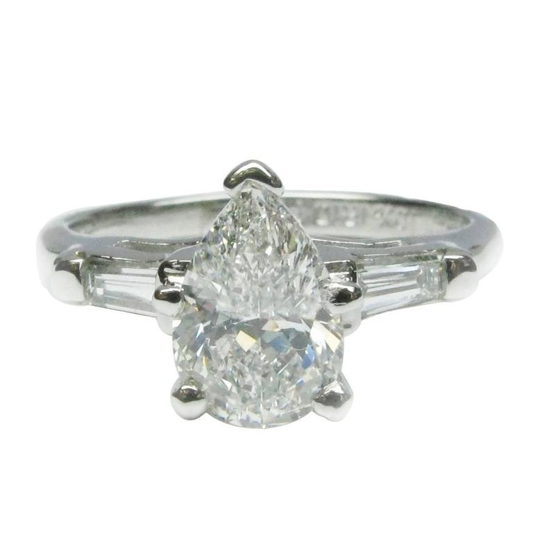 1.02 Carat Pear Shaped Diamond Platinum Engagement Ring 1