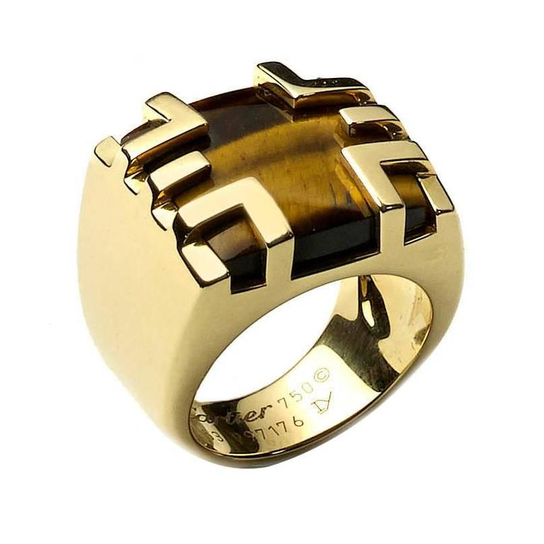 cartier tiger s eye gold ring for sale at 1stdibs