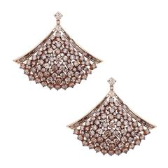 Unique Champagne Color Diamond Gold Chandelier Earrings