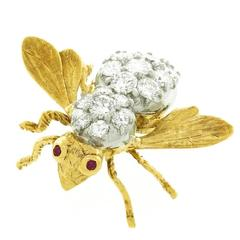 Herbert Rosenthal Diamond Set Bee Pin in Gold