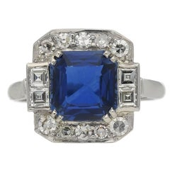 1935 Art Deco sapphire diamond platinum ring