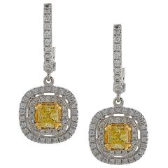 1.26 Carat Fancy Color Diamond Earrings