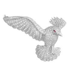 Pavé Diamond ruby Gold Bird Brooch