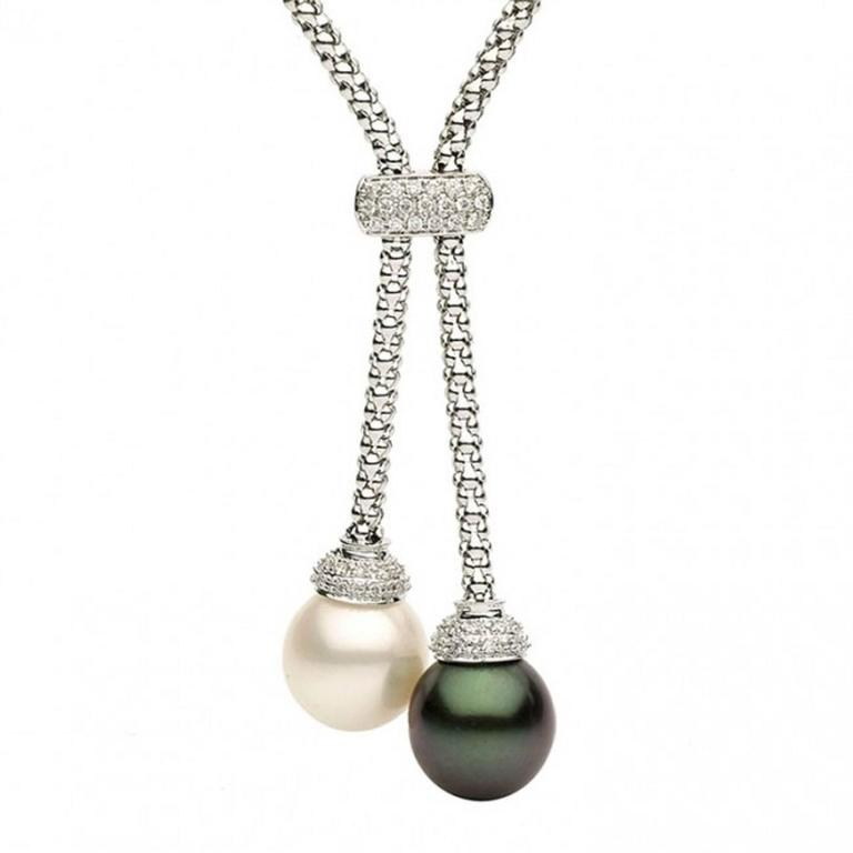 South Sea and Tahitian Pearl Diamond Gold Pendant Necklace