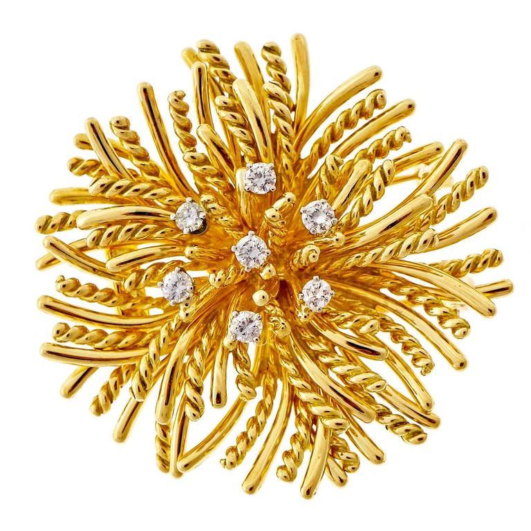 Tiffany & Co. Diamond Gold Anemone Pin