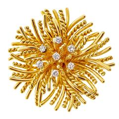 Tiffany & Co. Diamond Gold Anemone Pin