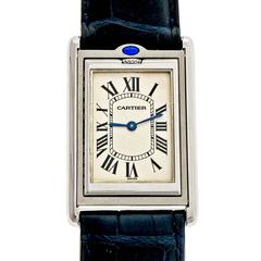 Cartier Stainless steel Tank Basculante Large Reversible Wristwatch