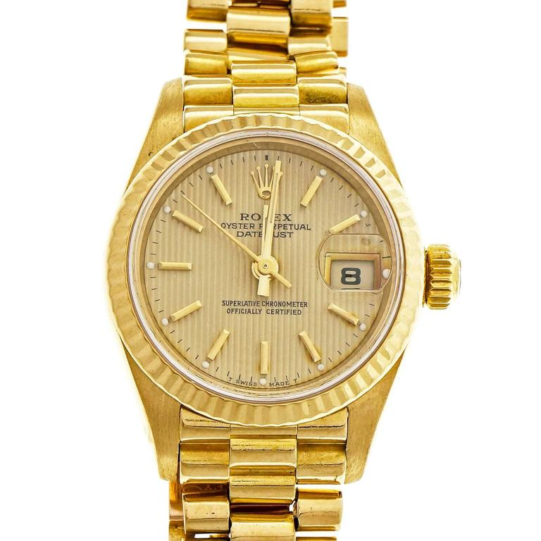 Rolex Lady's yellow gold President Pin Stripe Dial Wristwatch Ref 69178 1