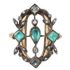 1820s 1.02 Carat Emerald & Diamond Yellow Gold Silver Set Cocktail Ring