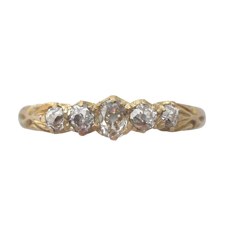 0.66Ct Diamond & 18k Yellow Gold Five Stone Ring - Antique 1911