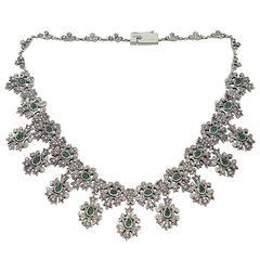 1950s 5.25 Carat Emerald and 5.47 Carat Diamond Silver Set Necklace