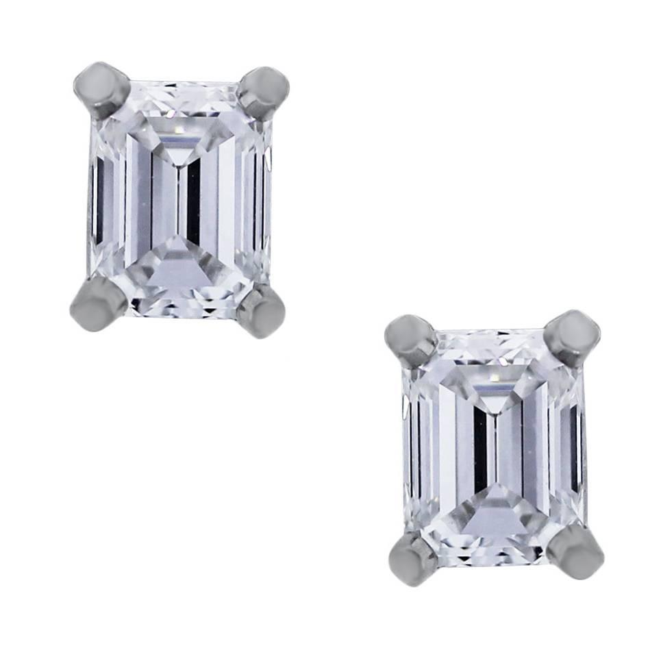 emerald cut stud earrings and co emerald cut platinum stud earrings 4989