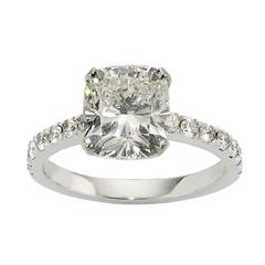 cushion cut GIA Cert diamond platinum ring