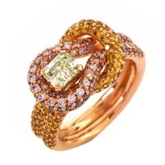 Rare Fancy Intense GIA Cert Green Diamond Diamond Gold Ring