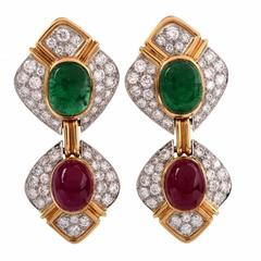 1980s Verdura Ruby Emerald Diamond Gold Clip-On Designer Earrings