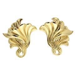 Gold Trumpet Earrings