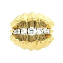 Large Retro Diamond Gold Dome Ring