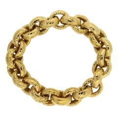 Valentin Magro Hammered Textured Gold Oval Link Bracelet
