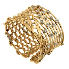 Diamond Gold Angular Net Bracelet