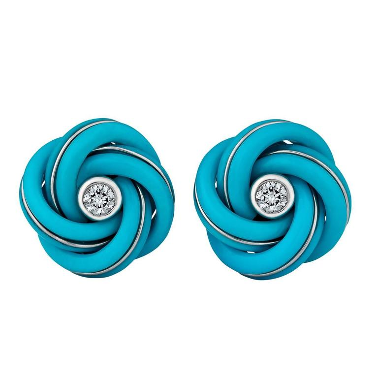 Turquoise Diamond Gold Knot Cufflinks For Sale