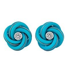Turquoise Diamond Gold Knot Cufflinks