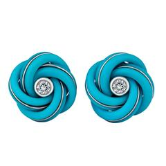 Turquoise Diamond Gold Knot Cufflinks
