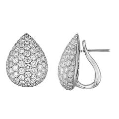 4.87 Carats Diamond Pave Gold Tear Drop Earrings