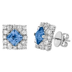 3.62 Carats Blue Topaz and Diamond Square Gold Studs