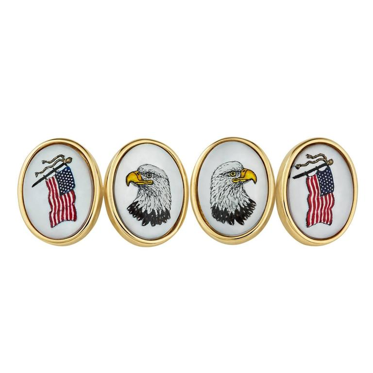 Mother-of-Pearl Gold American Flag and Bald Eagle Cufflinks 1