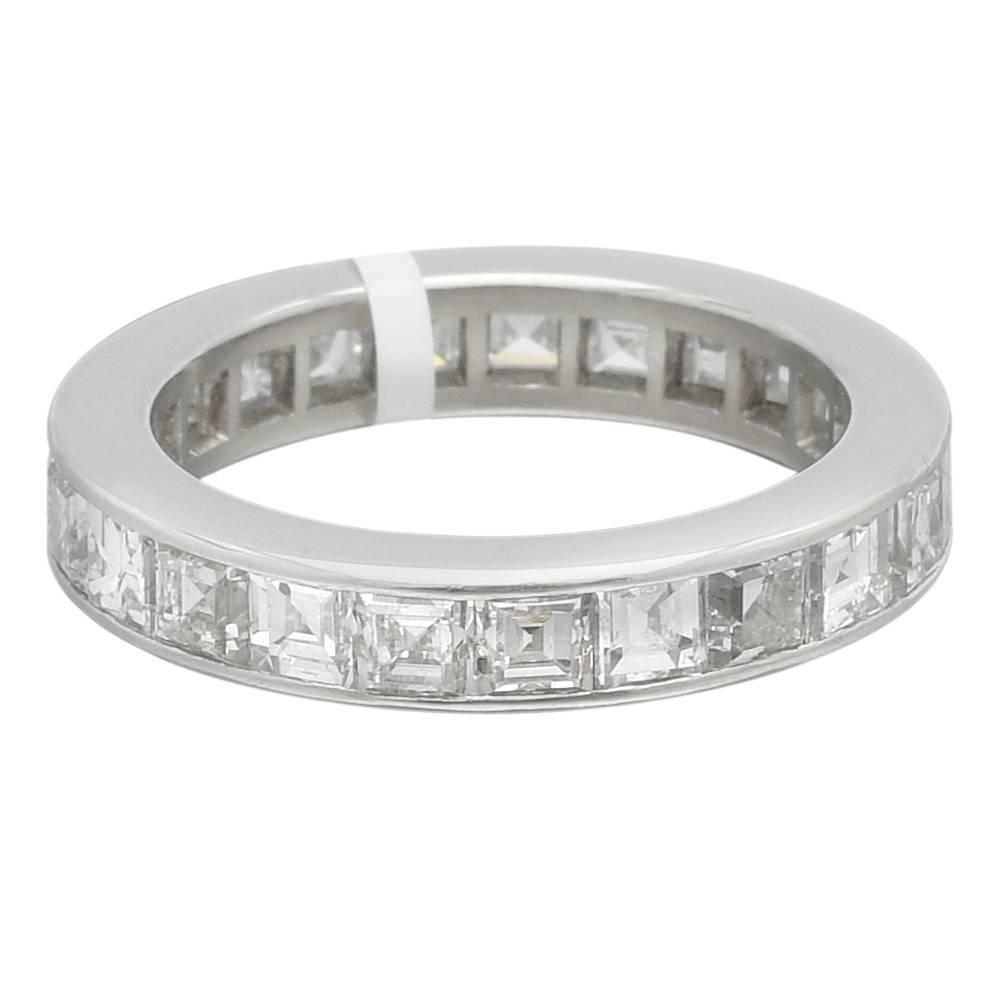 Square Cut Diamond platinum Eternity Band ring at 1stdibs