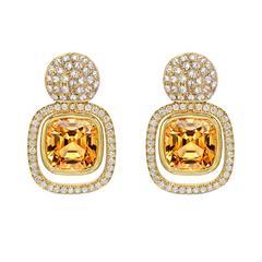 Striking Pair Of Imperial Topaz Gold Earrings