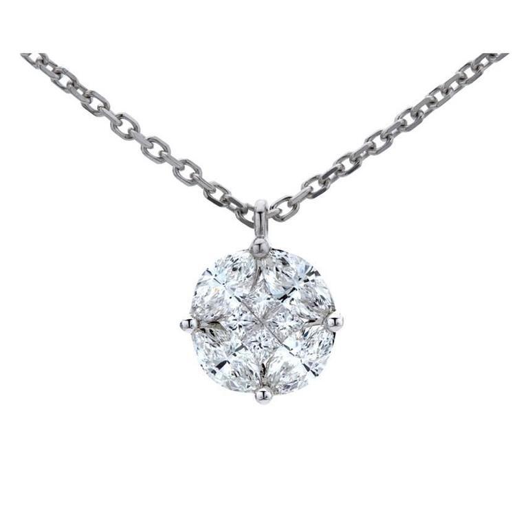 Marquise and princess cut diamond illusion solitaire pendant in marquise and princess cut diamond illusion solitaire pendant in white gold at 1stdibs aloadofball Gallery