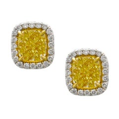 3.20 Carats Fancy Yellow Diamond Stud Earrings