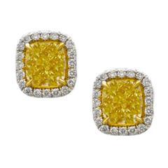 3.20 Carats Fancy Yellow Diamond Stud Earrings