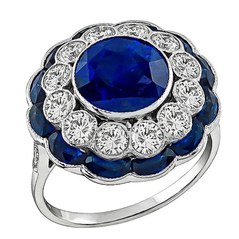 Attractive 3.54ct Sapphire Diamond White Gold Ring