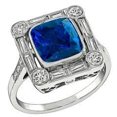 Natural 3.62 Carat Sapphire Diamond Gold Ring