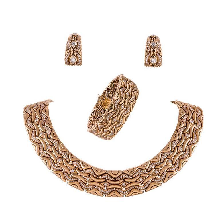 Bulgari Diamond Gold Necklace, Earrings and Bracelet Suite  For Sale