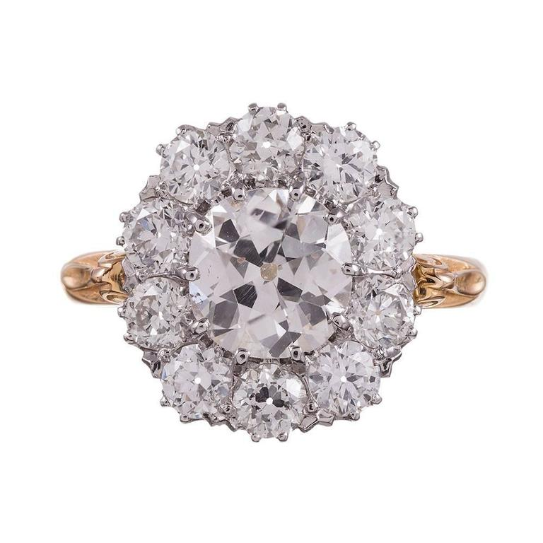 Old European Diamond gold Cluster Ring For Sale