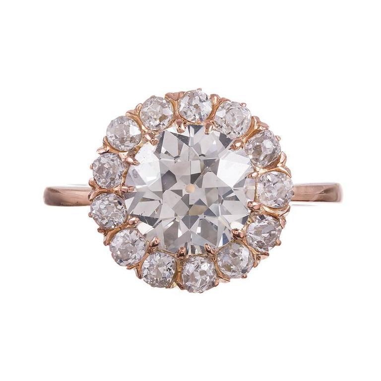 2.65 Carat Old European Cut Diamond gold Cluster Ring 1