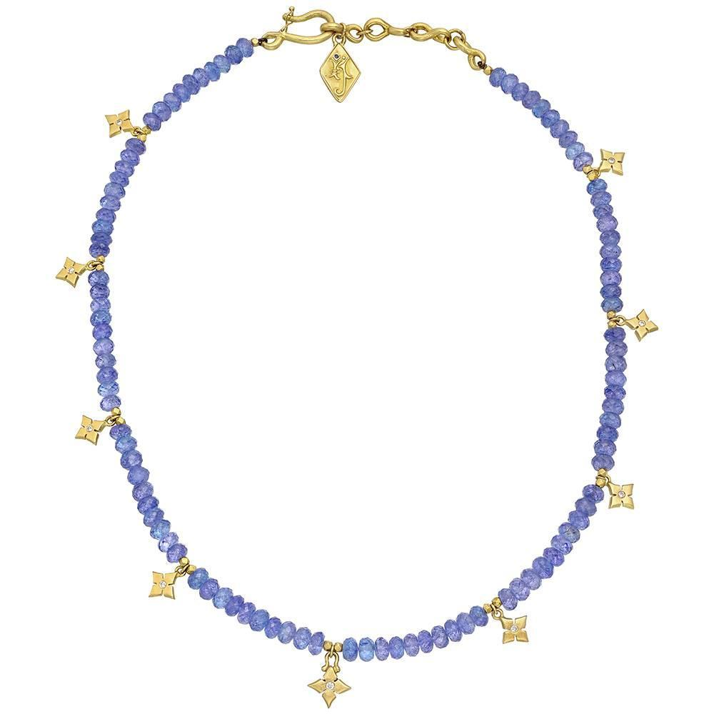 tanzanite bead necklace with gold charms at 1stdibs