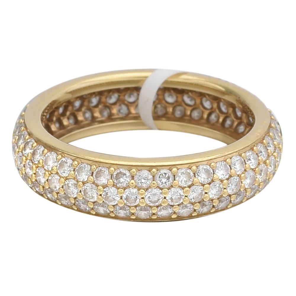 m moire pav silk diamond gold bombe eternity band ring for sale at 1stdibs. Black Bedroom Furniture Sets. Home Design Ideas